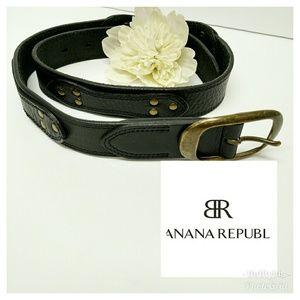 Banana Republic Black Genuine Leather Grommet Belt